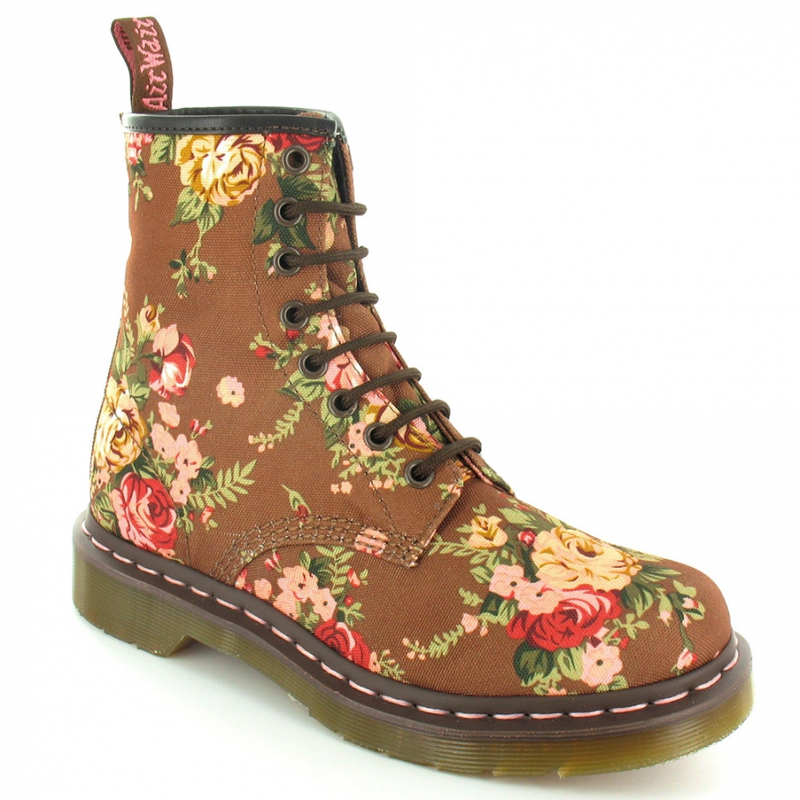 Dr. Martens R11821260 8 eye 1460 w Taupe Victorian flowers.