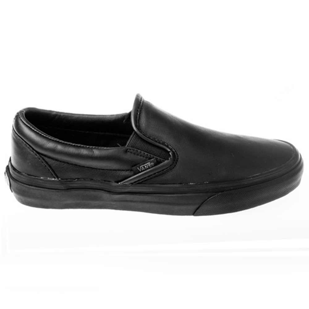 vans black leather slip on