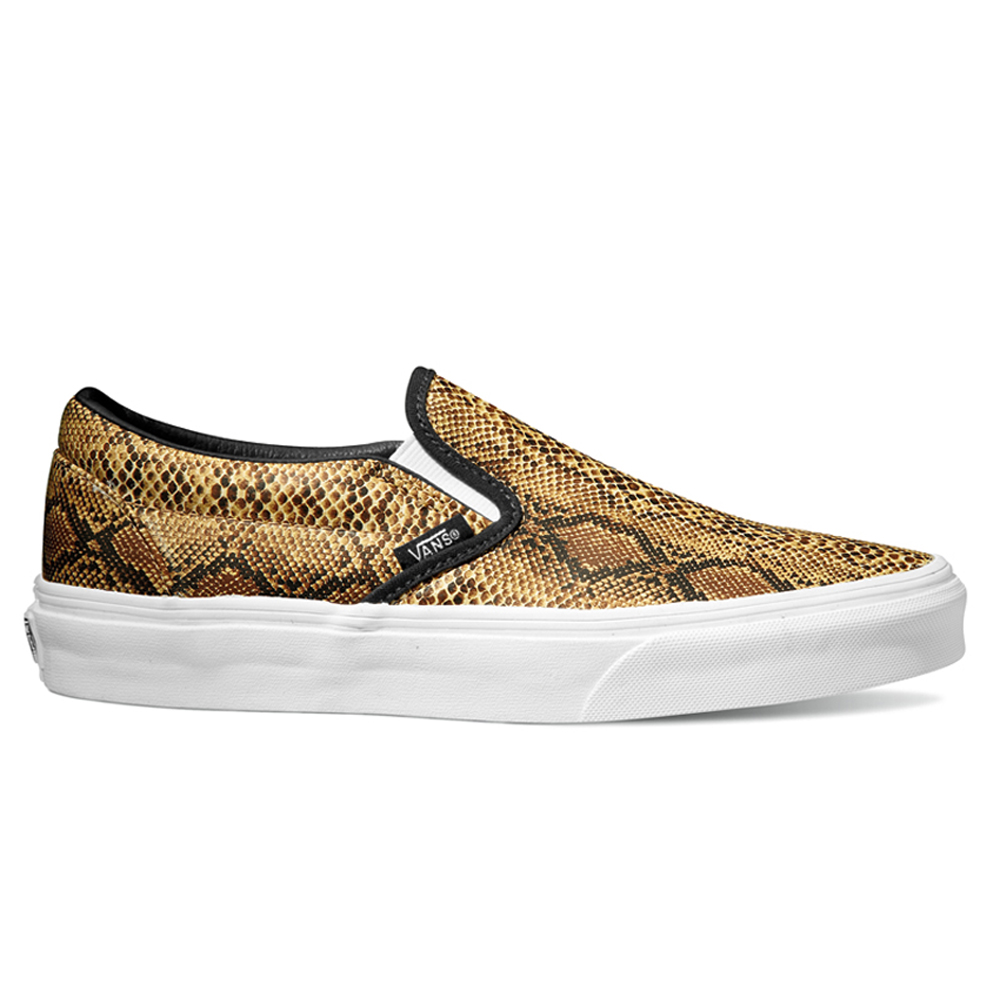 9ab17e04461d4a Vans VN-0XG8ENO U Classic Slip-On Leather Snake Silver Shoe ...